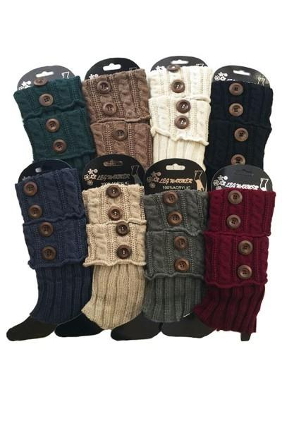 Women's Short Leg Warmer Solid Sweater Boot Sock With Buttons MomMe and More
