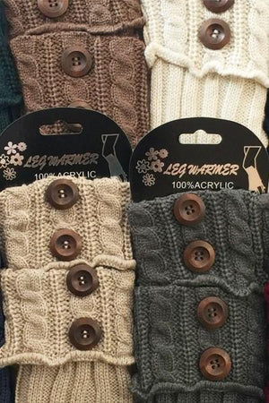 Winter Boot Cuff Toppers Sweater Leg Warmers with Buttons: Solid/Multi-Colors - MomMe and More