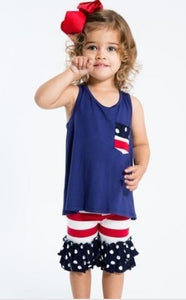 Girls American Flag 4th of July Tank Top: Blue 2T/3T/4T Tops MomMe and More
