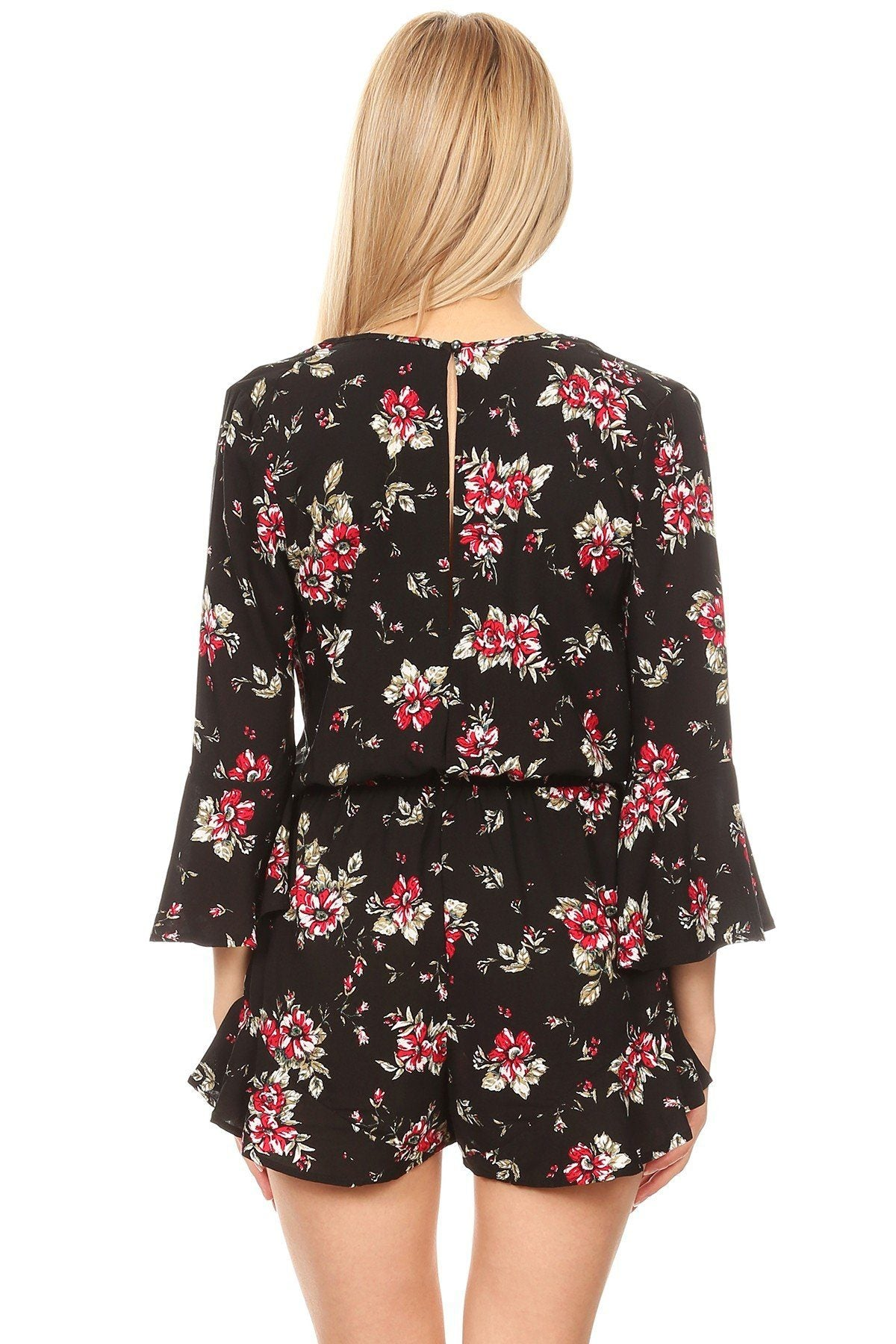 Women/Juniors 3/4 Bell Sleeve Floral Romper Shorts Jumpsuit: S/M/L romper MomMe and More