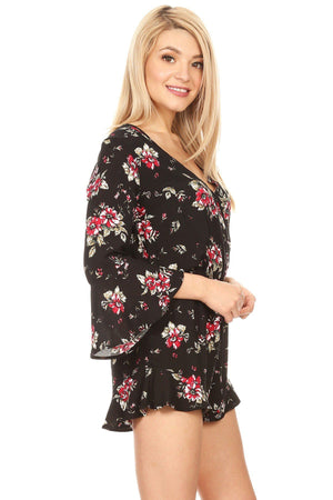 MomMe And More Women/Juniors 3/4 Bell Sleeve Floral Romper Shorts Jumpsuit: S/M/L