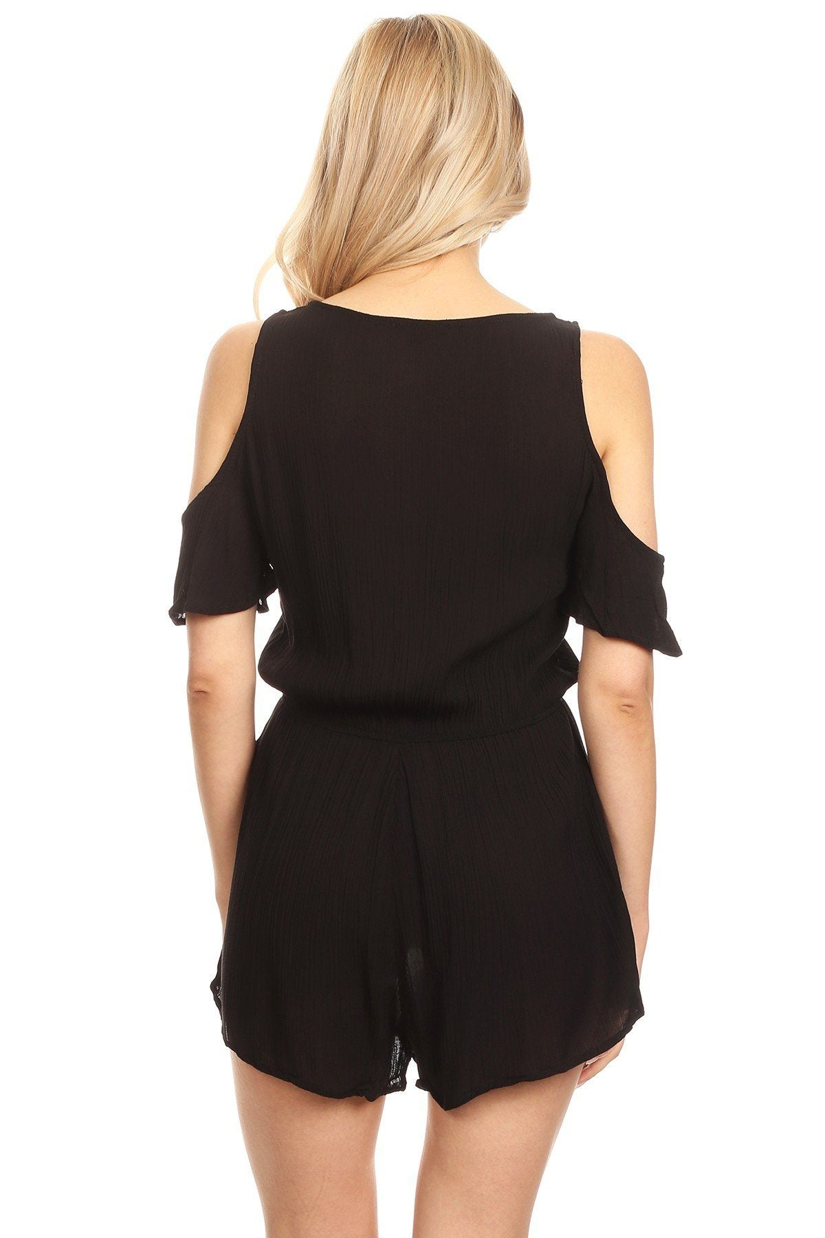 MomMe And More Women's/Juniors Cold Shoulder Romper Shorts Jumpsuit Black: S/M/L