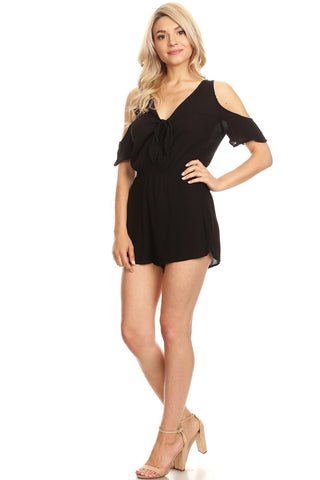 Women/Juniors Cold Shoulder Romper Shorts Jumpsuit Black: S/M/L romper MomMe and More