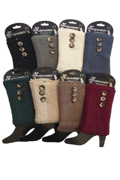 Winter Boot Cuff Toppers Crochet Leg Warmers With Buttons:  Solid/Multi-Colors - MomMe and More