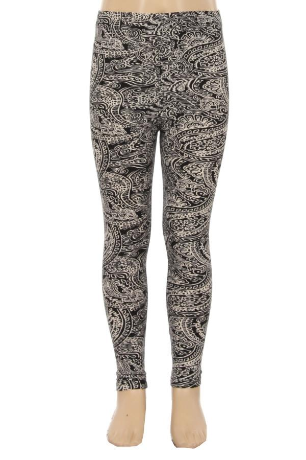 Girl's Paisley Printed Leggings Black/White: S/L - MomMe and More