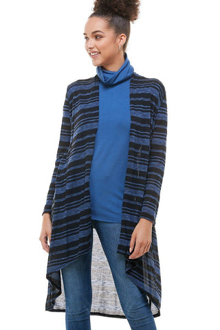 Womens Black Blue Stripe High-Low Cardigan Cardigan MomMe and More