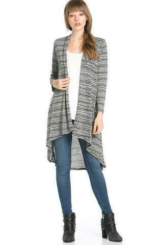 Womens Black-White Stripe Asymmetric Cardigan Cardigan MomMe and More