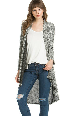 Womens Heather Gray High-Low Cardigan Cardigan MomMe and More
