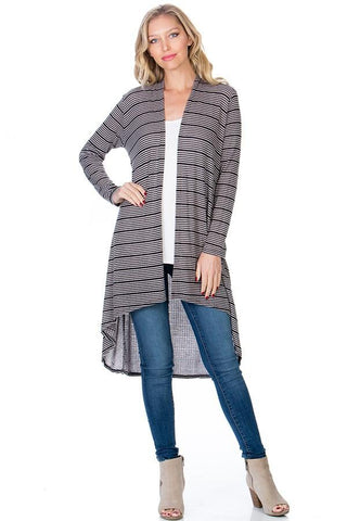 Womens Black Gray Stripe High-Low Cardigan Cardigan MomMe and More