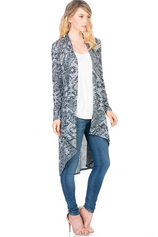 Womens Aztec Print High-Low Cardigan Cardigan MomMe and More