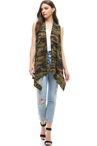 Green Camouflage Cardigan Vest For Women Cardigan MomMe and More