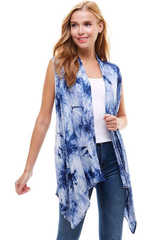 Blue Tie-Dye Cardigan Vest For Women Cardigan MomMe and More