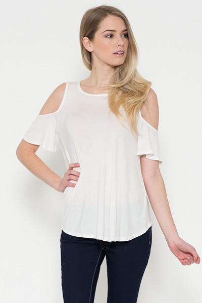 Ivory Tunic Top Cold Shoulder Shirt Beige: S/M/L/XL - MomMe and More