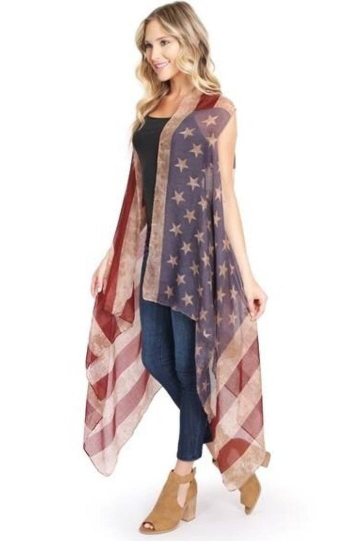 Women's American Flag Duster Cardigan Vest: Red/White/Blue - MomMe and More Matching Mommy and Me Clothing