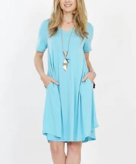 Women's Aqua Blue Pocket Dress: S-3XL dress MomMe and More