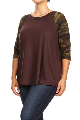 Women's Camo Brown Tunic Raglan Top: Plus 1xl/2xl/3xl Tops MomMe and More