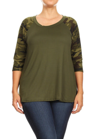 Women's Camo Green Tunic Olive Raglan Top: Plus 1xl/2xl/3xl Tops MomMe and More