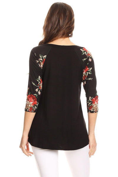 Womens Raglan Top solid black center rose print 3/4 sleeves like Lularoe Randy S, M, L