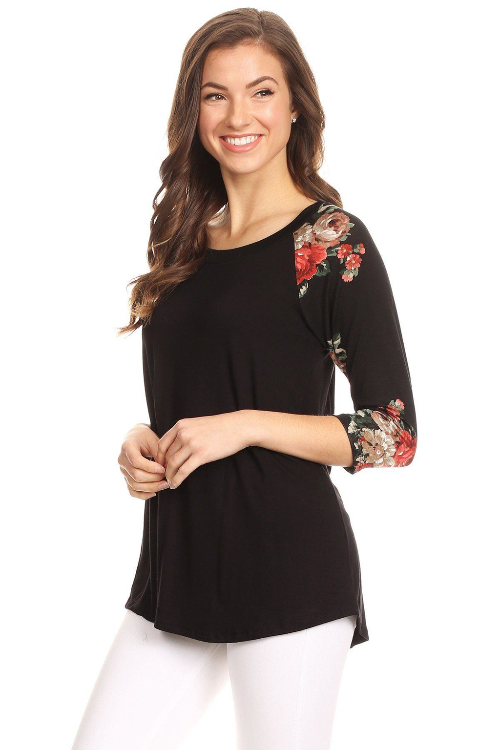 Women's Floral Top 3/4 Sleeve Black Shirt: S/M/L - MomMe and More Matching Mommy and Me Clothing