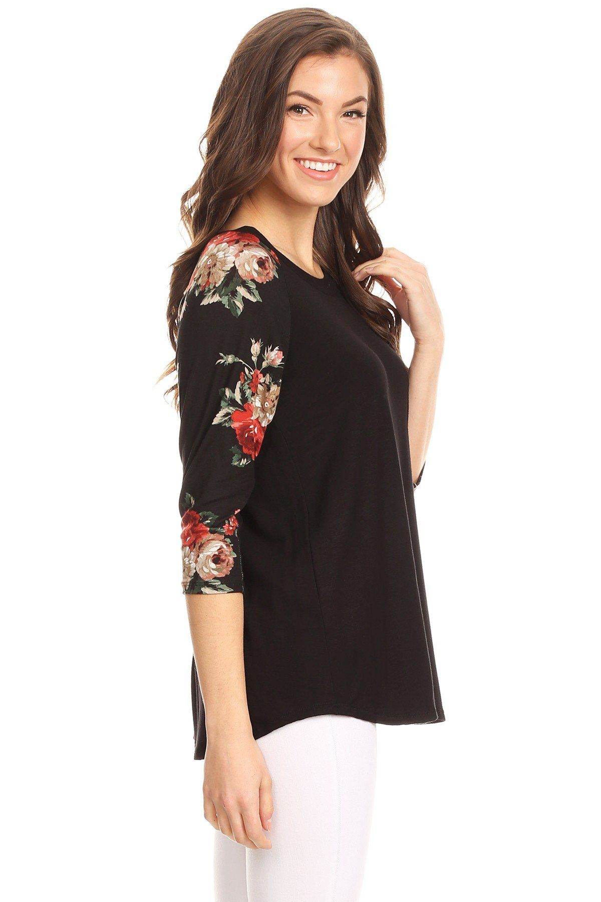 Women's Floral Top 3/4 Sleeve Black Shirt: S/M/L Tunics MomMe and More