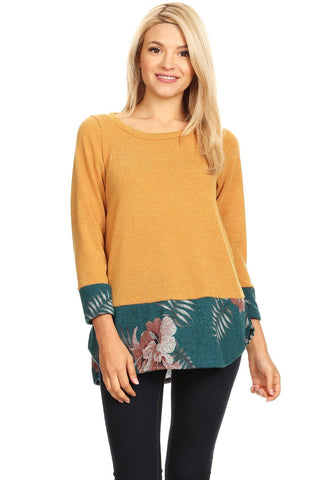 Women's Mustard Yellow Teal Floral Sweater Top: Plus 1xl/2xl/3xl Tops MomMe and More