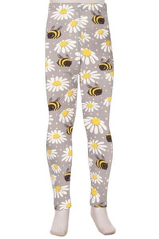 Girl's Bumble Bee Daisy Leggings Gray/Yellow: S and L Leggings MomMe and More