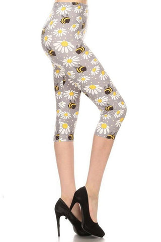 Women's Bumble Bee Capri Leggings Leggings MomMe and More