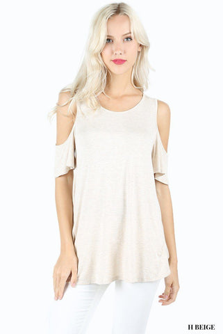 Women's Cold Shoulder Top: Beige Tops MomMe and More