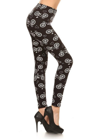 Women's Bike Printed Soft Leggings Black: OS and Plus Leggings MomMe and More
