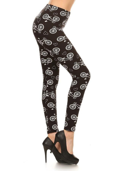 Leggings for Women Pedal Bike Bicycles & Hearts Black/White: OS/PLUS