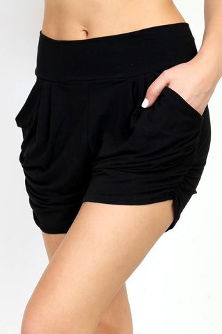 Women's Pocket Harem Shorts: Black Shorts MomMe and More