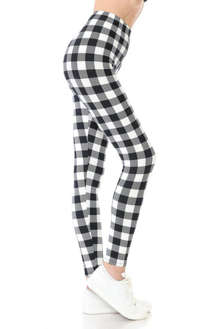 Womens Christmas Black White Plaid Leggings Leggings MomMe and More