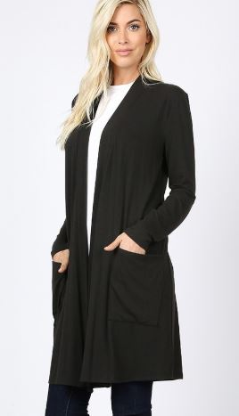 Women's Black Cardigan With Pockets: Plus 1XL/2XL/3XL Cardigan MomMe and More