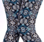 Women's Snowflake Ice Crystal Leggings, Blue: OS and Plus Leggings MomMe and More