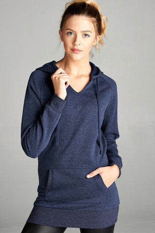 Womens Navy Blue Slim Fit Hoodie Sweatshirt Tops MomMe and More