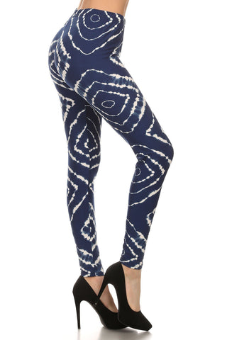 Women's Blue White Tie-Dye Leggings Leggings MomMe and More