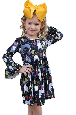 Girl's Party Dog Printed Dress: Black/Gray dress MomMe and More