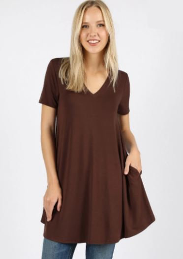 Women's Brown Tunic Dress With Pockets: S/M/L/XL dress MomMe and More