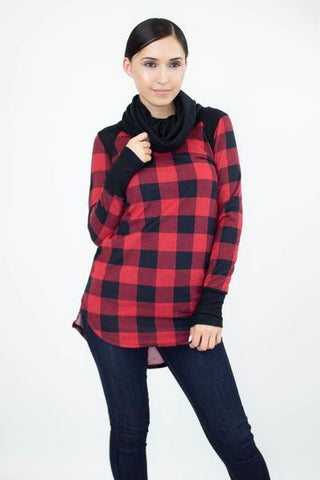 Red Buffalo Plaid Cowl Neck Tunic Top Tops MomMe and More