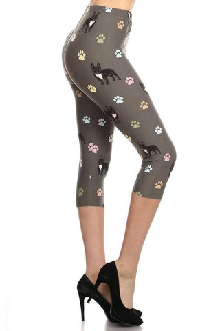 Womens Bulldog Paw Print Capri Leggings Leggings MomMe and More