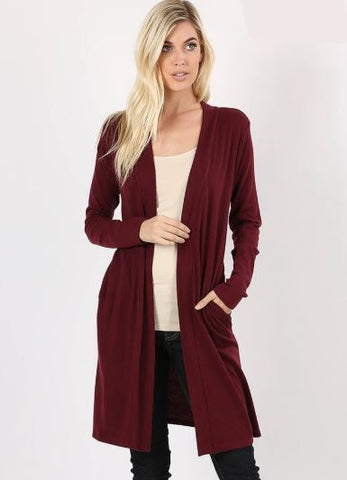 Women's Long Burgundy Cardigan With Pockets: Plus 1XL/2XL/3XL Cardigan MomMe and More
