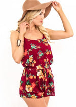Women/Juniors Spaghetti Strap Floral Romper Shorts Jumpsuit Burgundy: S/M/L romper MomMe and More