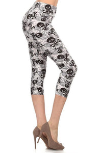 Women's Capri Skull Leggings Bones & Paisley Black/White:  OS/PLUS - MomMe and More