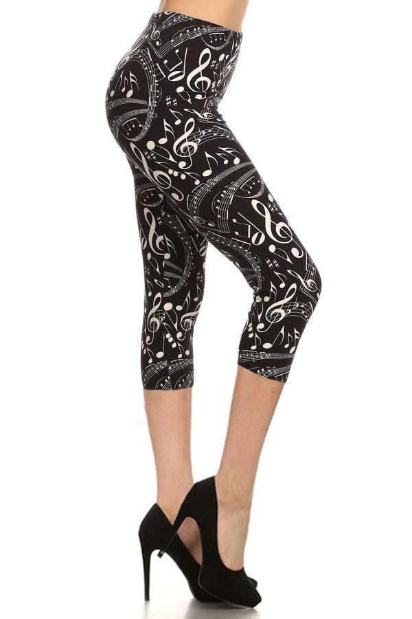 Women's Music Note Printed Capri Leggings: OS and Plus - MomMe and More Matching Mommy and Me Clothing