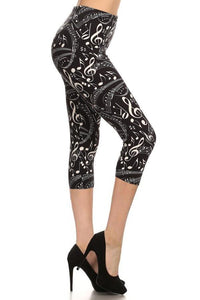 Women's Music Note Leggings Capri Black/White: OS/PLUS - MomMe and More