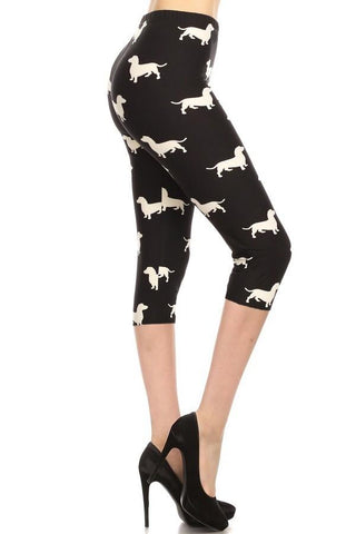 Womens Dachshund Dog Capri Leggings Leggings MomMe and More