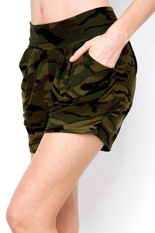Women's Pocket Harem Shorts: Green Camo Shorts MomMe and More