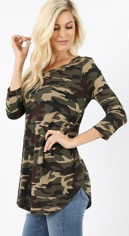 Women's Crew Neck Green Camouflage Top 3/4 Sleeve Tops MomMe and More