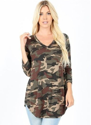 Women's Army Green Camo Top 3/4 Sleeve Shirt: S/M/L/XL Tops MomMe and More