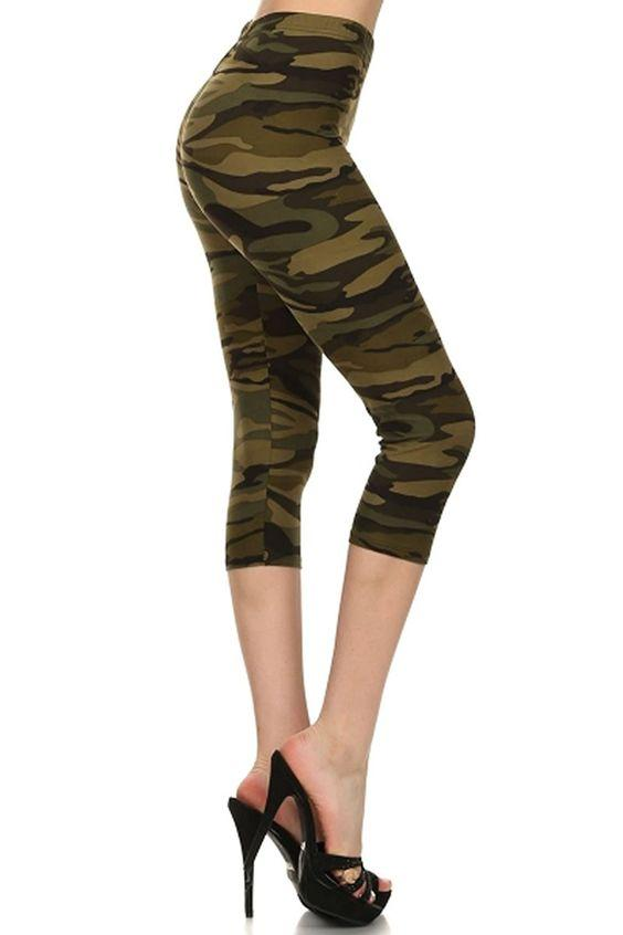 Women's Camo Capri Leggings Camouflage Army Green - MomMe and More Matching Mommy and Me Clothing